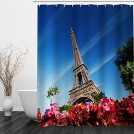 Paris Eiffel Tower 3D Printed Bathroom Waterproof Shower Curtain