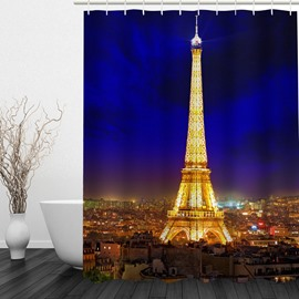 Romantic Paris Night 3D Printed Bathroom Waterproof Shower Curtain