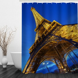 3D Eiffel Tower at Night Printed Bathroom Shower Curtain
