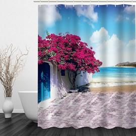 Beautiful House by the Sea 3D Printed Bathroom Waterproof Shower Curtain