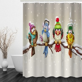Cute Cartoon Birds Standing on the Tree 3D Printed Bathroom Shower Curtain