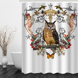 Owl and Angels 3D Printed Bathroom Waterproof Shower Curtain