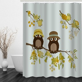 Cute Cartoon Owl Lover in Fall 3D Printed Bathroom Waterproof Shower Curtain