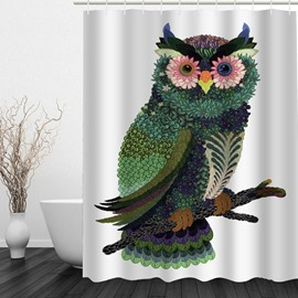 Exquisite Flower Owl 3D Printed Bathroom Waterproof Shower Curtain
