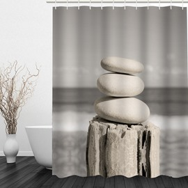 Stacked Rocks Pebble Tower by the Sea 3D Printed Bathroom Waterproof Shower Curtain