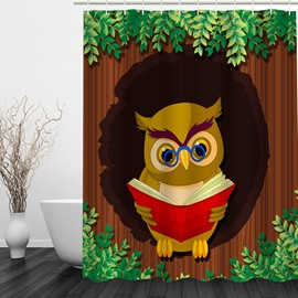 Cartoon Professor Owl 3D Printed Bathroom Waterproof Shower Curtain