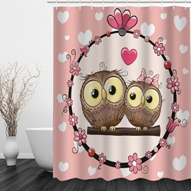 Couple Cartoon Owl Lovers 3D Printed Bathroom Waterproof Shower Curtain