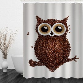 Coffee Owl 3D Printed Bathroom Waterproof Shower Curtain