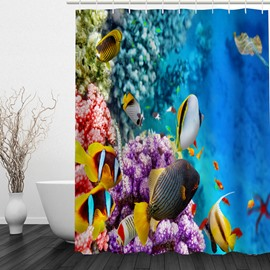 Deep Sea World 3D Printed Bathroom Waterproof Shower Curtain