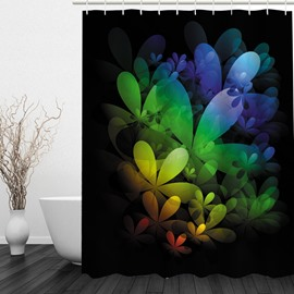 3D Colorful Geometric Flowers Printed Polyester Bathroom Shower Curtain