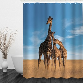Giraffe Family 3D Printed Bathroom Waterproof Shower Curtain