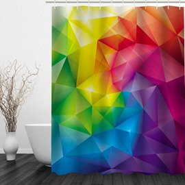 Colored Geometric 3D Printed Bathroom Waterproof Shower Curtain