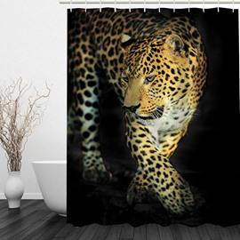 Cheetah Walking 3D Printed Bathroom Waterproof Shower Curtain