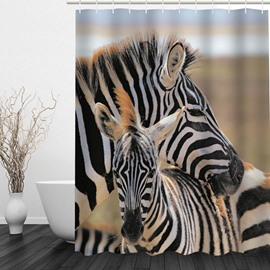 Vivid Zebra 3D Printed Bathroom Waterproof Shower Curtain