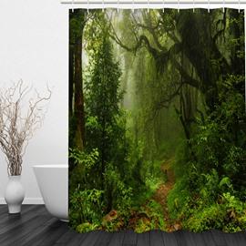 Green Jungle 3D Printed Bathroom Waterproof Shower Curtain