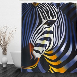 Oil Painting Zebra 3D Printed Bathroom Waterproof Shower Curtain