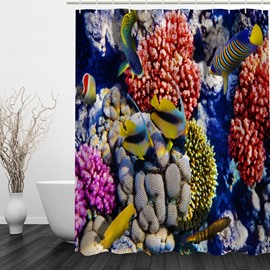 Tropical Fish 3D Printed Bathroom Waterproof Shower Curtain