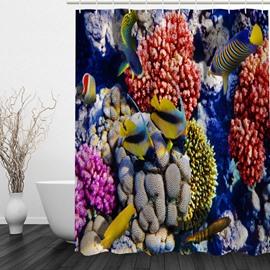 Tropical Fish 3D Printed Bathroom Waterproof Shower Curtain