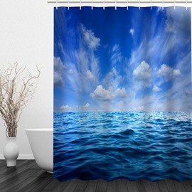 Blue Sky and Sea Pattern Polyester Waterproof and Eco-friendly 3D Shower Curtain