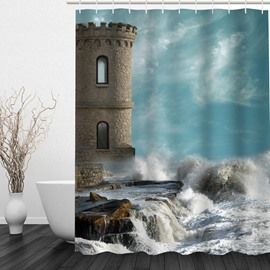 Seaside Castle 3D Printed Bathroom Waterproof Shower Curtain