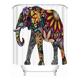 3D Mouldproof Colorful Flower Elephant Printed Polyester Bathroom Shower Curtain