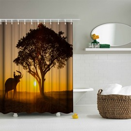3D Mouldproof Elephant and Tree in the Sunset Printed Polyester Bathroom Shower Curtain