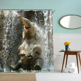 3D Mouldproof Happy Sitting Water-Spraying Elephant Printed Polyester Bathroom Shower Curtain