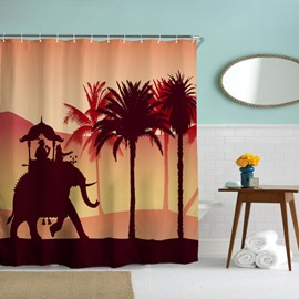3D Mouldproof Running Elephant in the Sunset Printed Polyester Bathroom Shower Curtain