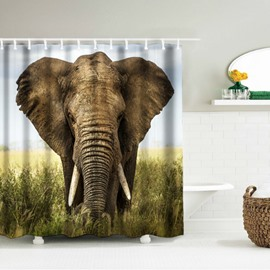 3D Mouldproof Elephant Head Printed Polyester Bathroom Shower Curtain