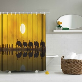 3D Mouldproof Family of Elephants Printed Polyester Bathroom Shower Curtain