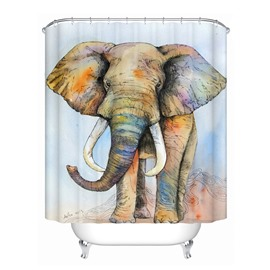 3D Mouldproof Colorful Elephant Printed Polyester Blue Bathroom Shower Curtain