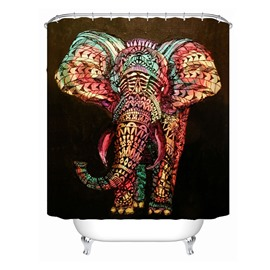 3D Mouldproof Colorful Elephant Printed Polyester Bathroom Shower Curtain