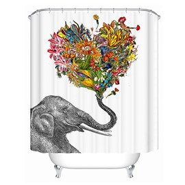 3D Mouldproof Heart Shape Flower and Elephant Printed Polyester Bathroom Shower Curtain