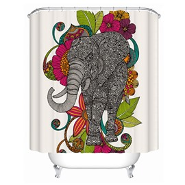 3D Mouldproof Elephant and Colorful Flower Printed Polyester Bathroom Shower Curtain