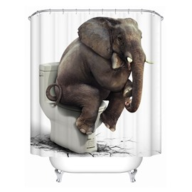 3D Mouldproof Elephant on the Toilet Printed Polyester Bathroom Shower Curtain