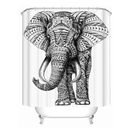 3D Mouldproof Elephant Printed Polyester Black and White Bathroom Shower Curtain