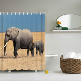 3D Mouldproof Moving Elephant Father and Son Printed Polyester Bathroom Shower Curtain
