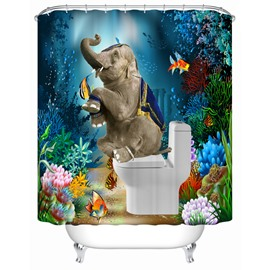 3D Mouldproof Elephant on the Toilet in Sea Printed Polyester Bathroom Shower Curtain