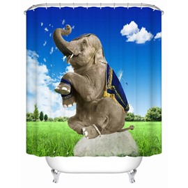 3D Mouldproof Sitting Elephant Printed Polyester Blue Bathroom Shower Curtain