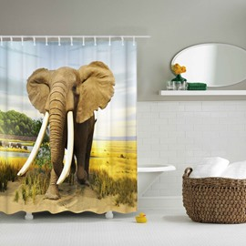 3D Mouldproof Moving Elephant Printed Polyester Yellow Bathroom Shower Curtain