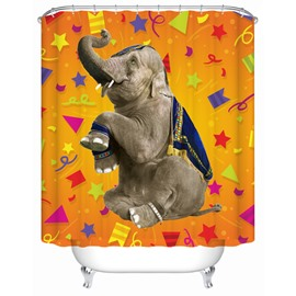 3D Mouldproof Elephant Printed Polyester Yellow Bathroom Shower Curtain