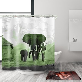 3D Mouldproof Elephant Printed Polyester Green Bathroom Shower Curtain