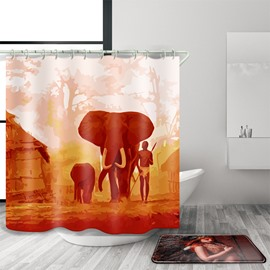 3D Mouldproof Elephant Printed Polyester Orange Bathroom Shower Curtain