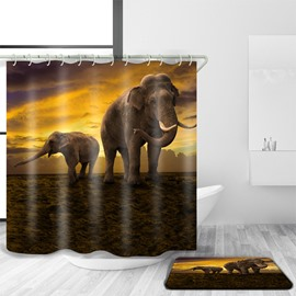 3D Mouldproof Elephant in Sunset Printed Polyester Bathroom Shower Curtain