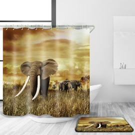3D Mouldproof Elephant in Field Printed Polyester Yellow Bathroom Shower Curtain