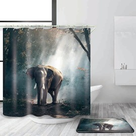 3D Mouldproof Elephant in Forest Printed Polyester Bathroom Shower Curtain