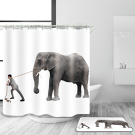 3D Mouldproof Elephant Printed Polyester White Bathroom Shower Curtain