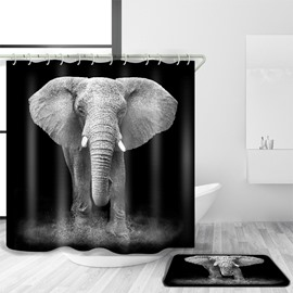 Gray 3D Mouldproof Moving Elephant Printed Polyester Bathroom Shower Curtain