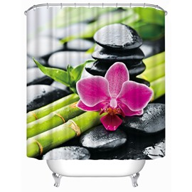3D Phalaenopsis and Bamboo Printed Polyester Bathroom Shower Curtain