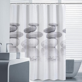 3D Folded Stones Printed Polyester Gray Bathroom Shower Curtain